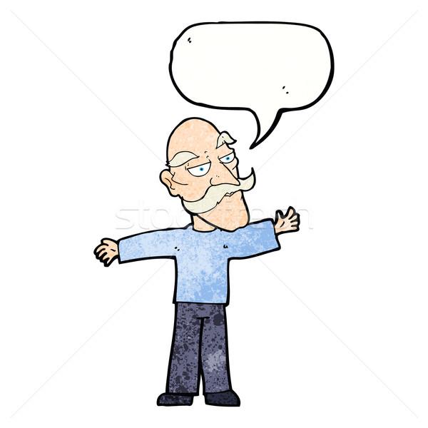 Cartoon старик оружия широкий речи пузырь стороны Сток-фото © lineartestpilot