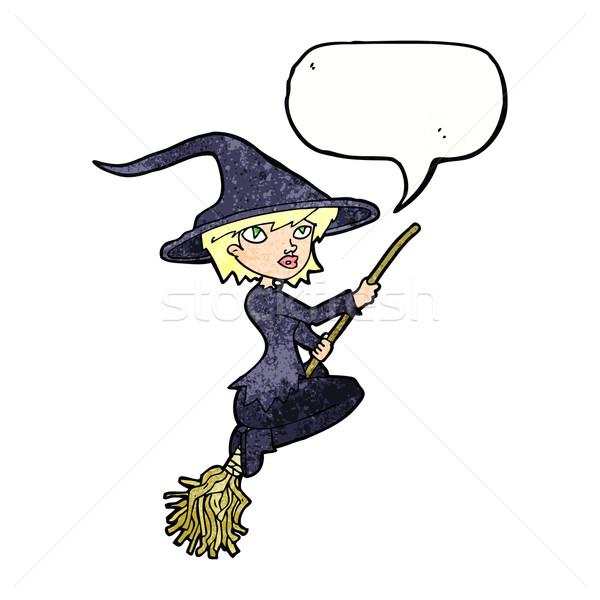 Desenho animado bruxa equitação cabo de vassoura balão de fala mão Foto stock © lineartestpilot