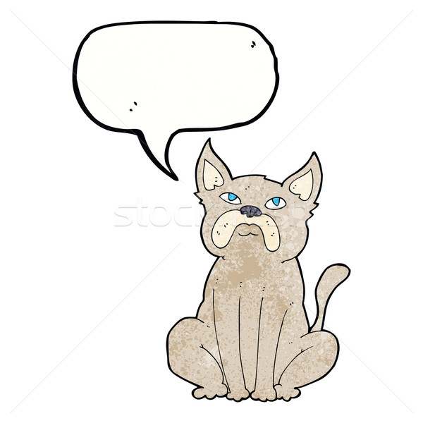cartoon grumpy little dog with speech bubble Stock photo © lineartestpilot