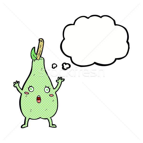 Cartoon przestraszony gruszka bubble myśl strony projektu Zdjęcia stock © lineartestpilot