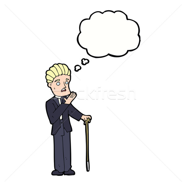 Cartoon джентльмен мысли пузырь стороны человека Сток-фото © lineartestpilot