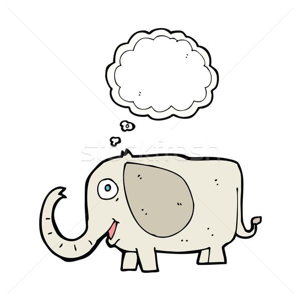 Foto stock: Cartoon · bebé · elefante · burbuja · de · pensamiento · mano · diseno