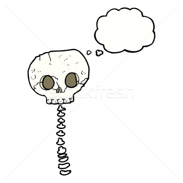 Rajz ijesztő koponya gerincoszlop gondolatbuborék kéz Stock fotó © lineartestpilot