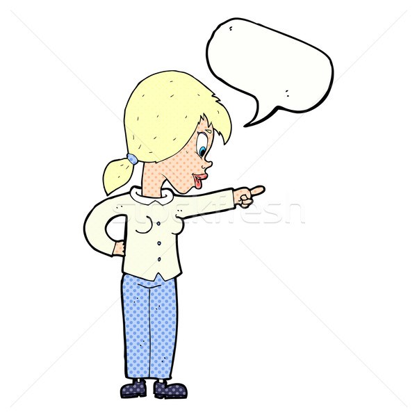 cartoon enthusiastic woman pointing with speech bubble Stock photo © lineartestpilot