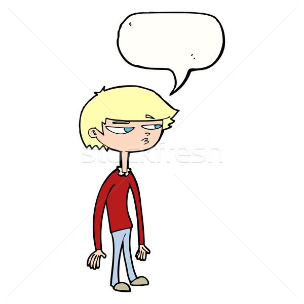 cartoon suspicious boy with speech bubble Stock photo © lineartestpilot