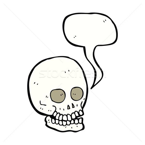 Rajz koponya szövegbuborék kéz terv őrült Stock fotó © lineartestpilot