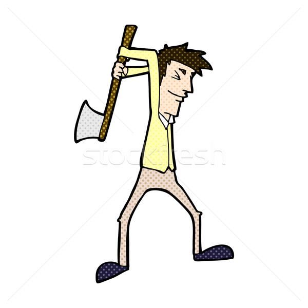 comic cartoon man swinging axe Stock photo © lineartestpilot