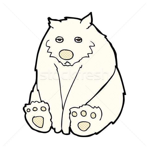 Képregény rajz boldogtalan jegesmedve retro képregény Stock fotó © lineartestpilot