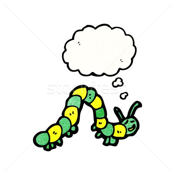 Karikatür tırtıl düşünce balonu doku el mutlu Stok fotoğraf © lineartestpilot