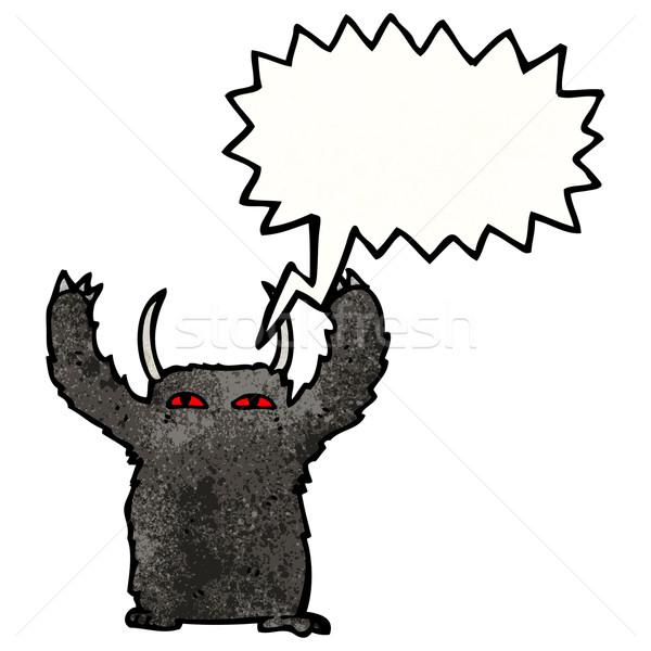 Haarig Monster Karikatur sprechen Retro Zeichnung Stock foto © lineartestpilot