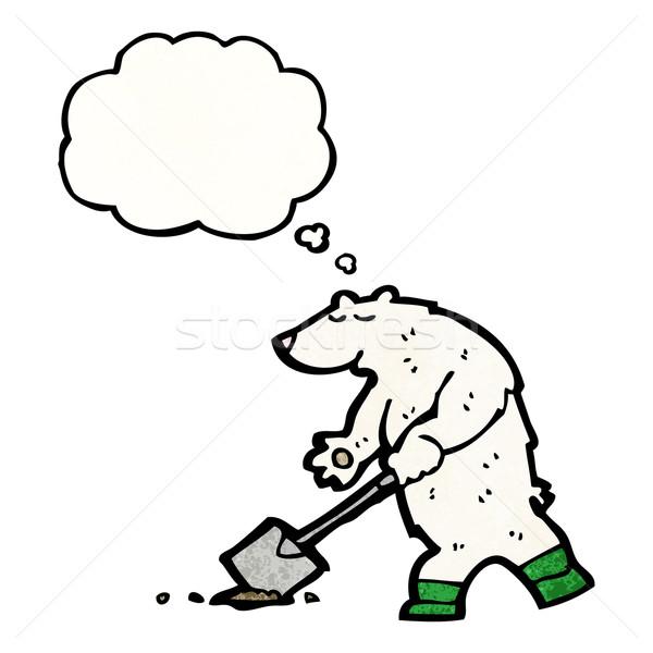 Desenho animado urso polar balão de pensamento falante retro pensando Foto stock © lineartestpilot
