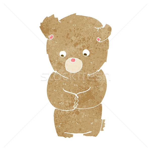 Cartoon verlegen teddybeer hand ontwerp kunst Stockfoto © lineartestpilot