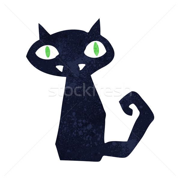 Rajz fekete macska terv művészet állatok fekete Stock fotó © lineartestpilot