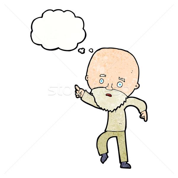 Cartoon preocupado viejo senalando burbuja de pensamiento mano Foto stock © lineartestpilot