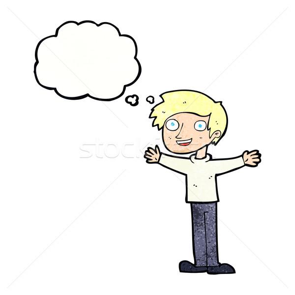 Karikatür hevesli adam düşünce balonu el mutlu Stok fotoğraf © lineartestpilot
