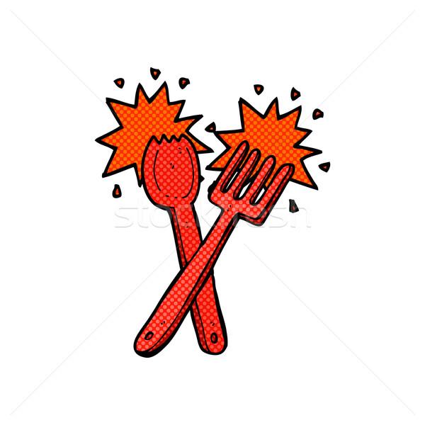 Komik karikatür çatal bıçak takımı Retro stil Stok fotoğraf © lineartestpilot