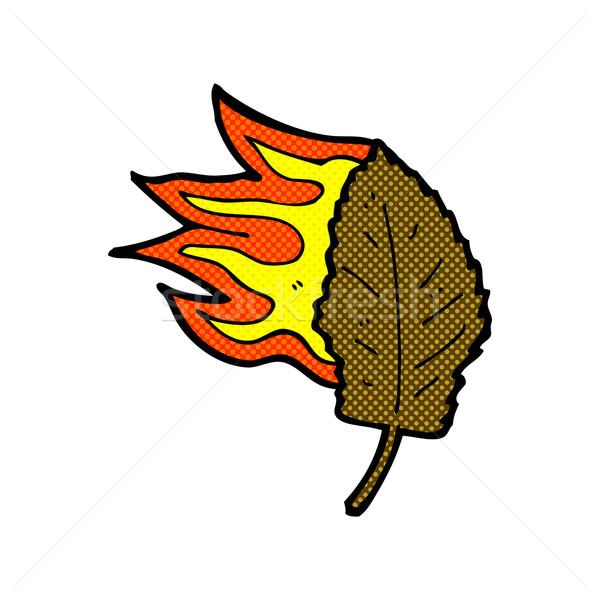 comic cartoon burning dry leaf symbol Stock photo © lineartestpilot