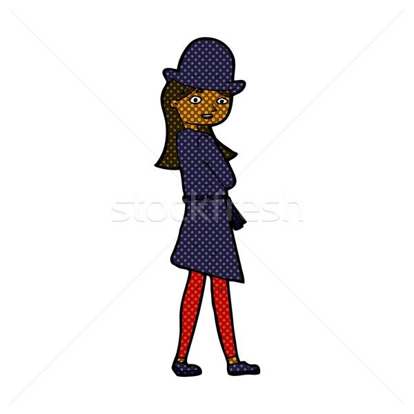 комического Cartoon женщины шпиона ретро Сток-фото © lineartestpilot