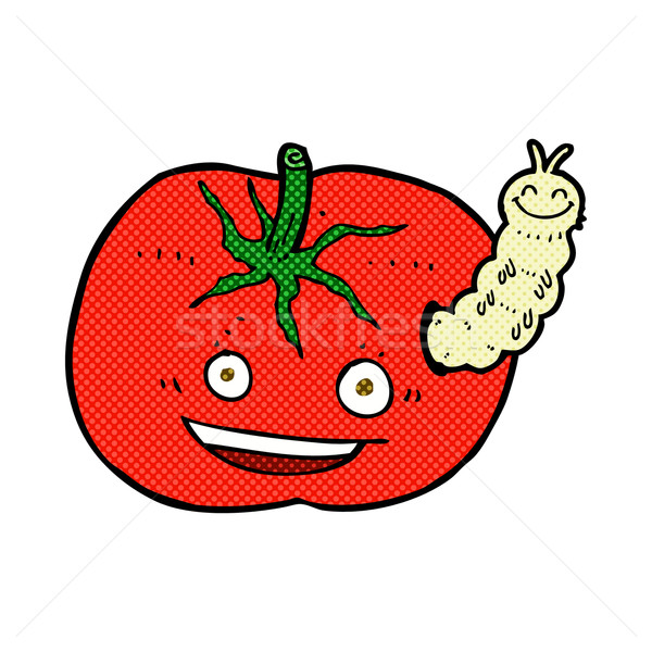 comic cartoon tomato with bug Stock photo © lineartestpilot