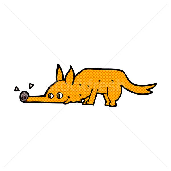 Stock photo: comic cartoon fox sniffing floor