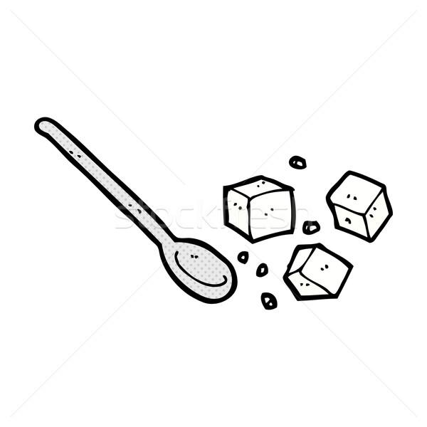 comic cartoon sugar lumps and spoon Stock photo © lineartestpilot