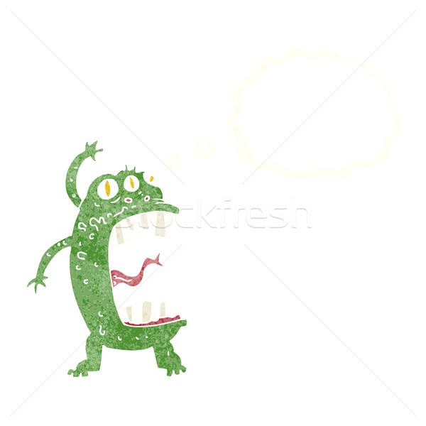 Cartoon Crazy монстр мысли пузырь стороны дизайна Сток-фото © lineartestpilot