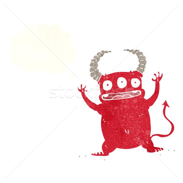 Cartoon мало дьявол мысли пузырь стороны дизайна Сток-фото © lineartestpilot