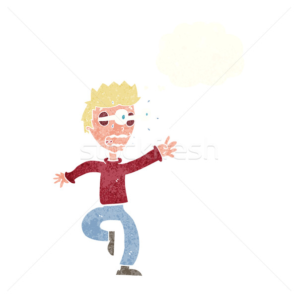 cartoon terrified man with eyes popping out with thought bubble Stock photo © lineartestpilot