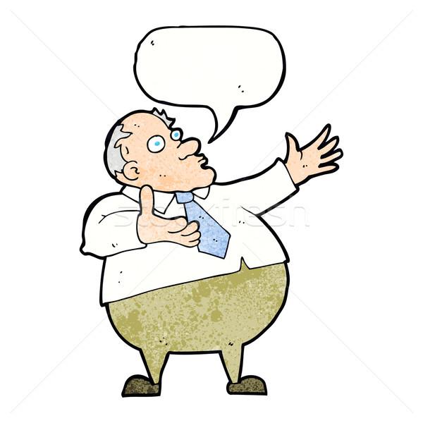 Rajz középkorú férfi szövegbuborék kéz férfi terv Stock fotó © lineartestpilot