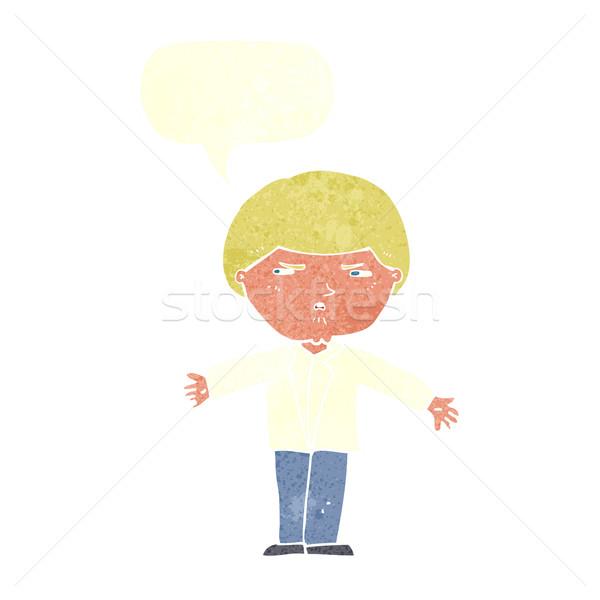 Karikatür rahatsız adam konuşma balonu el gözler Stok fotoğraf © lineartestpilot