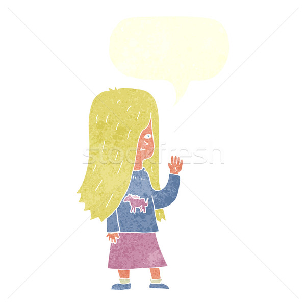 cartoon girl with pony shirt waving with speech bubble Stock photo © lineartestpilot