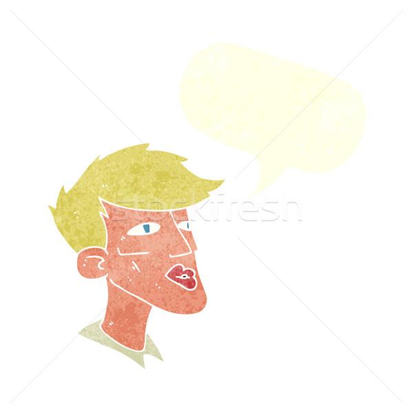 漫画 男性モデル 男 吹き出し 手 顔 ストックフォト © lineartestpilot