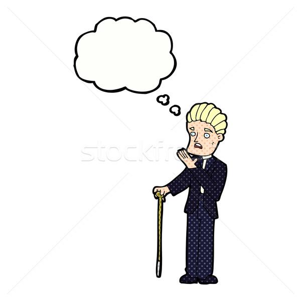 Cartoon geschokt gentleman gedachte bel hand man Stockfoto © lineartestpilot