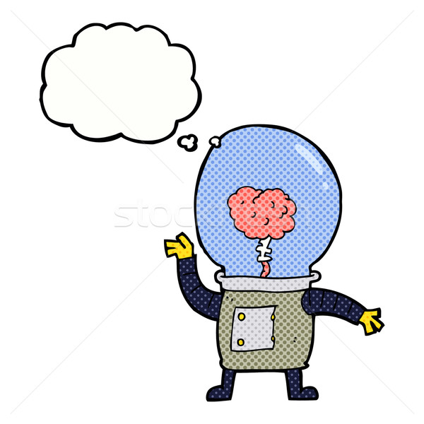 cartoon robot cyborg with thought bubble Stock photo © lineartestpilot