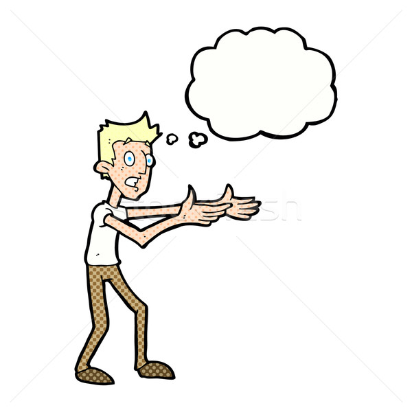 cartoon man desperately explaining with thought bubble Stock photo © lineartestpilot