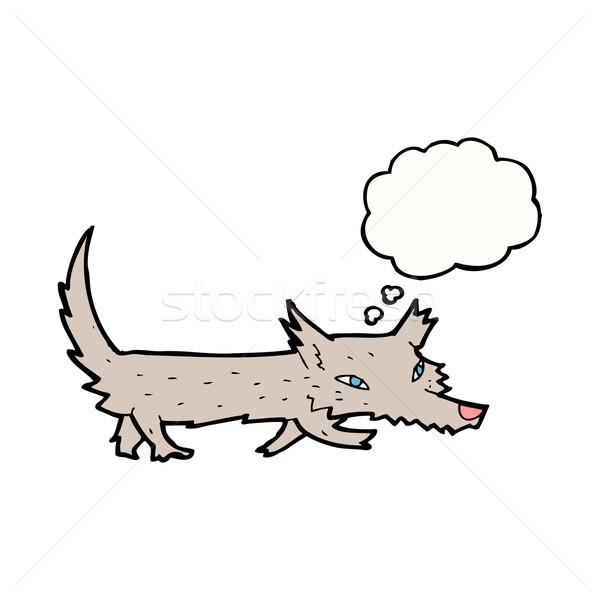 Cartoon мало волка мысли пузырь стороны дизайна Сток-фото © lineartestpilot
