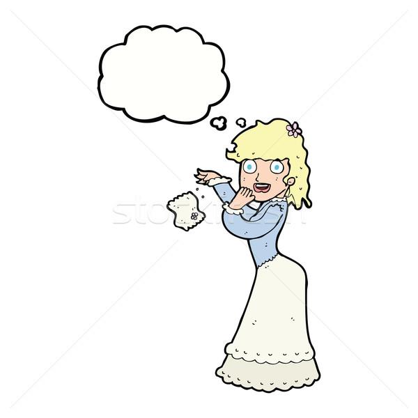 Rajz nő zsebkendő adatbázis gondolatbuborék kéz Stock fotó © lineartestpilot