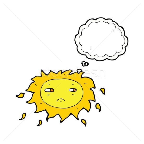 Cartoon triste sol burbuja de pensamiento mano diseno Foto stock © lineartestpilot