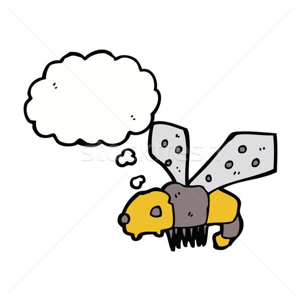 Cartoon Bee мысли пузырь стороны дизайна животные Сток-фото © lineartestpilot