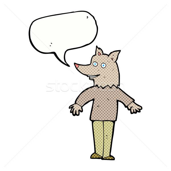 Karikatür mutlu kurt adam konuşma balonu el adam Stok fotoğraf © lineartestpilot