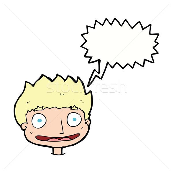 Cartoon dymka strony człowiek szczęśliwy Zdjęcia stock © lineartestpilot