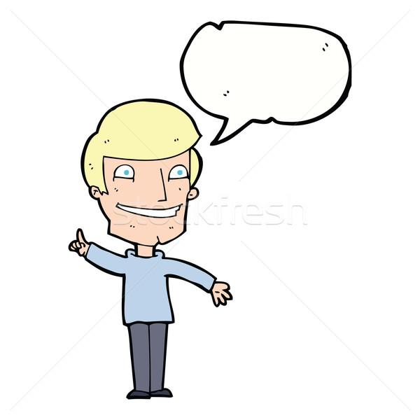 Rajz vigyorog férfi ötlet szövegbuborék kéz Stock fotó © lineartestpilot