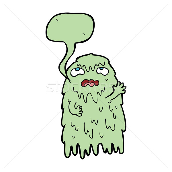 gross cartoon ghost with speech bubble Stock photo © lineartestpilot