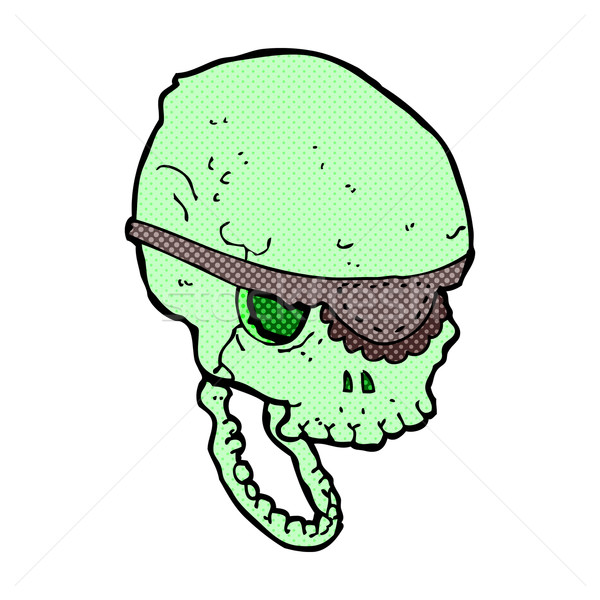 comic cartoon spooky skull with eye patch Stock photo © lineartestpilot