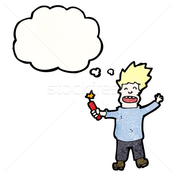 Cartoon człowiek dynamit tekstury strony szczęśliwy Zdjęcia stock © lineartestpilot