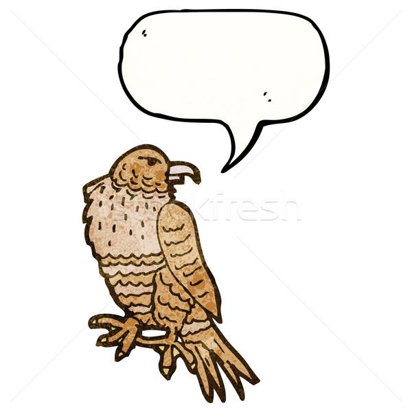 Cartoon uccello preda mano felice disegno Foto d'archivio © lineartestpilot