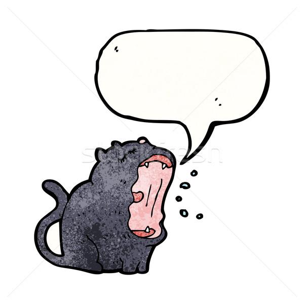 Engraçado desenho animado gato preto balão de fala gato preto Foto stock © lineartestpilot