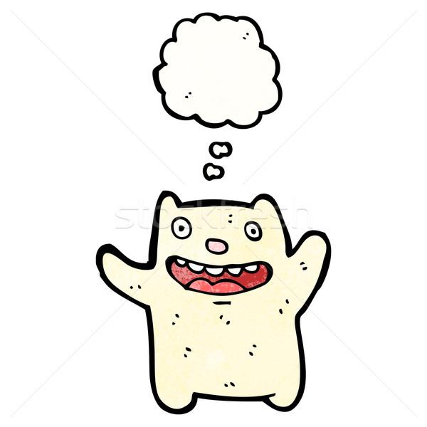 Stock fotó: Vicces · kicsi · jegesmedve · rajz · retro · léggömb