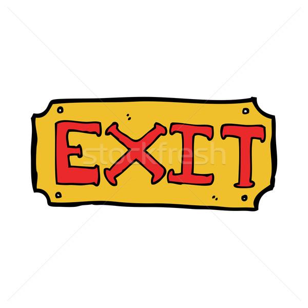Karikatur exit sign Hand Design crazy Clip Stock foto © lineartestpilot