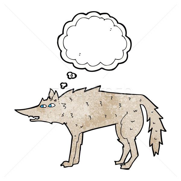 Cartoon волка мысли пузырь стороны дизайна Crazy Сток-фото © lineartestpilot